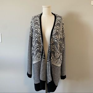Love & Legend Open Front Knit Cardigan Black And White Chevron And Stripes